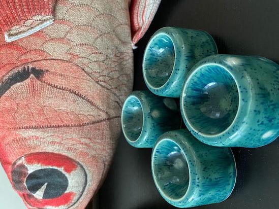 Afbeeldingen van 4 Eierdopjes van keramiek